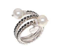 #Attimoprezioso #EveryDayGioielli Anello donna argento 925 modello contrari con perle di acqua dolce pietre swarovski nere ,misura regolabile argento rodiato made in Italy