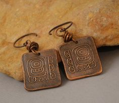 RESERVED FOR GINNY Handcrafted Artisan Jewelry, Handmade Copper Mayan Symbol Dangle Earrings, Sundance Style. $22.00, via Etsy.