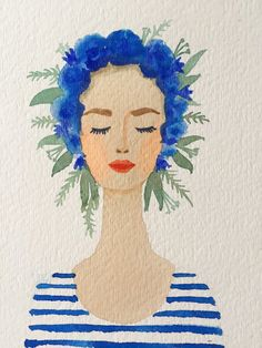 Blue Flower crown girl original watercolor painting. Coral lips, stripes…