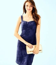 30db50847676d Lilly Pulitzer  198 Annalee Stretch Dress Navy Palm Paradise Puckered  Jacquard  fashion  clothing