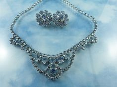 Vintage Ice Blue Crystal Necklace And Earring Set