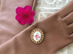 Vintage Guilloche Brooch Rose Signed PL by NeutralNellies on Etsy