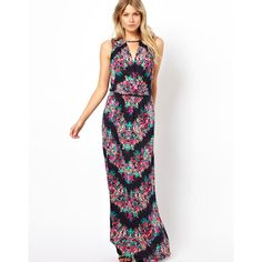 Oasis Chevron Floral Maxi Dress (575 CNY) found on  chevron dresses20130702