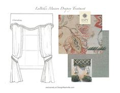 """LaBelle Maison Drapery Treatment 1 linen print floral/ paisley """"erased"""" motif. Scalloped valance with tassel fringe and side panels with contrasting banding of vintage aqua linen. Tassel trim and twisted cording finish the edges of the contoured tiebacks. Espy Exclusive Collection, limited edition customizable designs. DesignNashville.com"""