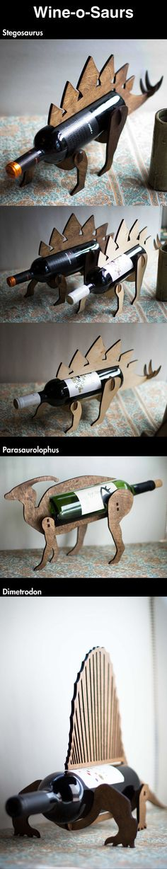 Wine-o-saurs. @Gaby Brown i feel like we need this... but do they fit the big bottles is the real question! haha