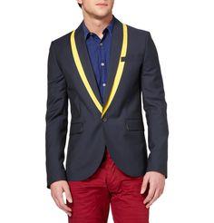 Alexander McQueen Contrast Lapel Wool and Mohair-Blend Blazer $815