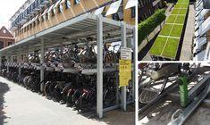 Bij de Gemeente Groningen, afdeling huisvesting, heeft Falco een op maat gemaakte fietsoverkapping geplaatst, met verschillende soorten fietsparkeersystemen om verschillende fietsen in te parkeren. Ladder, Om, Bike, Space, Bicycle, Floor Space, Stairway, Bicycles, Ladders