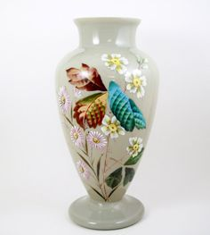 """Antique Footed Bristol Glass Vase Clambroth Color Hand Painted Floral 14"""""""
