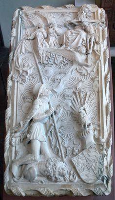Hans Multscher (zugeschrieben): Modell eines geplanten Grabmals für Herzog Ludwig VII. den Gebarteten von Bayern-Ingolstadt, 1430, Solnhofer Kalkstein, Bayerisches Nationalmuseum; Inv. Nr. MA 936
