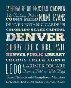 Denver Colorado Typography Poster/Bus/ Subway by LegacyHouseArt, $42.95