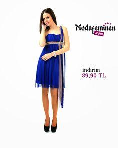 İroni Elbise Straplez Dantel Garnili Tül-Saks Özgün tarzının değişmez renklerinden Saks Mavisi!  ☛ Hemen İnceleyin: http://www.modafeminen.com #Yeni #Elbise #Giyim #Moda