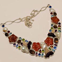 .925 Sterling silver natural biva pearl+smoky+bt+garnet necklace n450 100gm #Handmade #Necklace