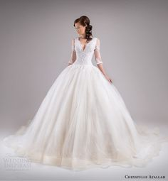 chrystelle atallah bridal spring 2015 three quarter sleeve princess ball gown wedding dress lace bodice v neckline horsehair skirt