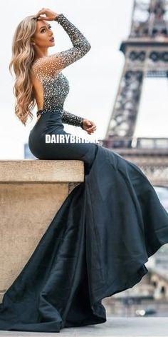 b04c208f5692 Black Satin Long Sleeve Beaded Mermaid Backless Prom Dresses