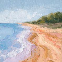 """""""Shoreline One"""", 4"""" x 4"""" palette knife oil on canvas panel. Framed. $35"""
