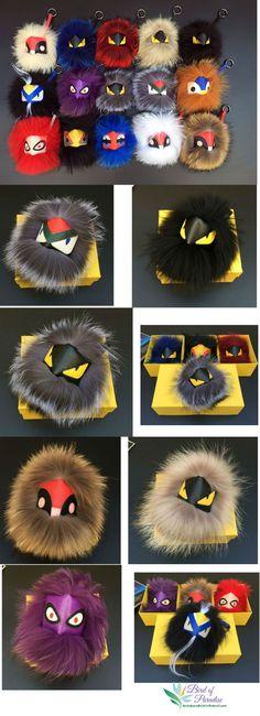 Fashion bag charm, fur raccoon  charm , Monster Keychain Fur Pom Pom Ball , Key Ring Bag ,Pendant with Strap and Metal Buckle