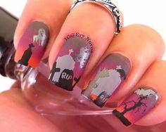 #mani #uñas #diseñodeuñas #uñasestampadas #sexynails #moda #estilo #style #fashion #fashionnails #halloween #halloweennails #graveyardnails