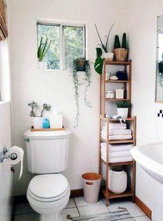 Small bathroom decor - How To Maximize Your Tiny Apartment Storage Hacks And Ideas Cute Bathroom Ideas, Simple Bathroom, Bathroom Small, Budget Bathroom, Bathroom Designs, Organized Bathroom, Bathroom Hacks, Bathroom Modern, Bathroom Plants