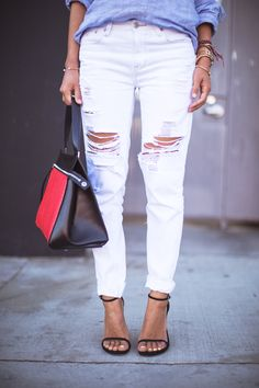 Res denim Ripped white jeans, Stuart Weitzman Nudist sandals Celine edge bag www.songofstyle.com