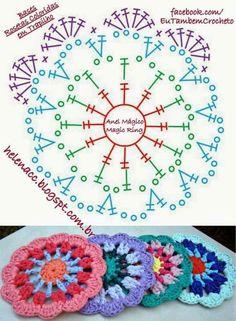 Bases Rosetas Coloridas em Trapilho