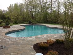 Lagoon with Built-in Stairs and Walkout Bench (Inground pool with vinyl liner)