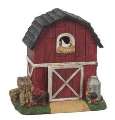Light Up Barn Fairy Garden Miniatures  $24.99 This light up barn is most definitely the perfect piece to add to your miniature fairy garden farms!Light coming from the windows and door creates a magical glow at night so the animals can find their way home!  Hand-coated All-weather paint Light-up windows and door