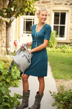 Joti Dress | Athleta Fall 2013 Collection. Cute boots for leggings.