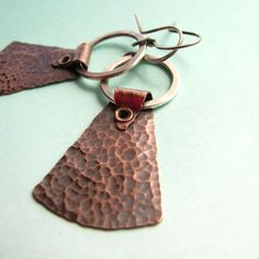 Mixed Metal Earrings -  Sterling Silver And Copper Earrings -  Riveted Earrings - Modern Metalsmith Jewelry
