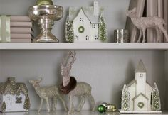 White Silver Cream Holiday Christmas - glitter reindeer - glitter mini village
