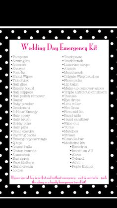 Wedding Day Emergency Kit - Pack for the bride and give to her as a gift before her wedding day!