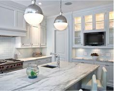 white glass backsplash Pelham Shingle Style for a Modern Family - contemporary - Kitchen - New York - Fivecat Studio Cheap Kitchen Backsplash, Glass Subway Tile Backsplash, Subway Tile Kitchen, Backsplash Ideas, Backsplash Design, Glass Tiles, Blue Backsplash, Stone Backsplash, Kitchen Paint