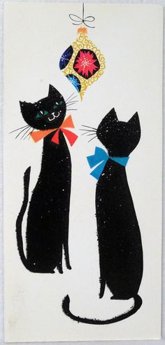 57 50s Unused Norcross Mid Century Glittered Cats Vtg Christmas Card Greeting | eBay