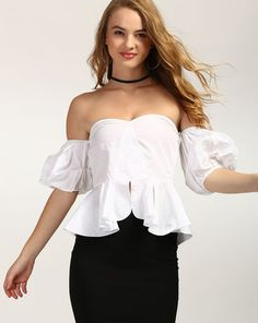 00979ac70b1 Buy White Eudora Off Shoulder Peplum Top Online at StalkBuyLove
