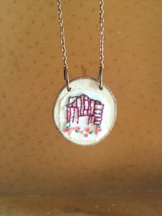 #Jewelry  #Necklace  #Fiber # thehornet'snest  #hand #embroidery  #needlework  #wood #jewelry #pendant  #gift  #christmas gift #sweet #barn necklace  #rustic barn jewelry  #raw #wood  #christmas gift  #unfinished wood  #red barn