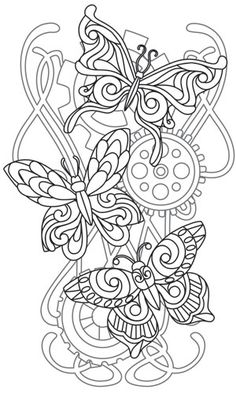 Steampunk Nouveau - Butterfly Cascade   Urban Threads: Unique and Awesome Embroidery Designs