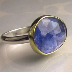 Rose Cut Tanzanite Ring - 18k Yellow Gold and Sterling Silver