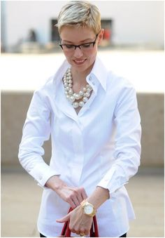 Very nice! Love the pearls. Feminizes glasses, short hair. Your have a khaki and blue striped shirt very much like this, esp the collar.