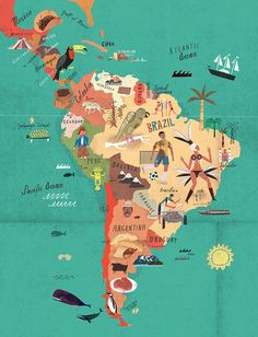 Martin Haake is represented by Lindgren Smith Illustration - Martin haake South America Map illustration Columbia South America, South America Map, America Continent, America America, Latin America Map, Arte Latina, Magic City, Las Vegas Hotels, Map Design