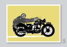 Funny motorcycle art print sloth illustration gift for by Vinspiro, $18.00