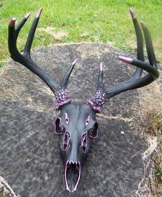 Hand Painted European Deer Skull Mount w Antlers Black Pink Ships Free | eBay