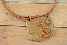 Ladybug bronze pendant  Texture bronze pendant  by AntoniaTeresa