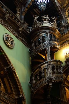 Carved staircase, Peles Castle, Romania