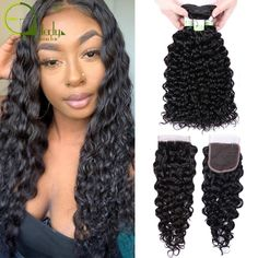 Sterly Water Wave Bundles With Closure Remy Human Hair Bundles With Closure Brazilian Hair Weave Bundles With Closure Remy Human Hair, Remy Hair, Waves Bundle, Brazilian Hair Weave, Water Waves, Hair Studio, Natural Disasters, Weave Hairstyles, Hair Pieces