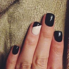 Simple Black and Nude Accent Shellac Nails Design