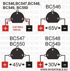 Tensiones y corriente máxima de los transistores BC546, BC547, BC548, BC549 y BC550.