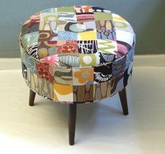 Mismatched Stool - this is kind of what I am looking for - for the living room.  Small, can be tucked into a corner or used for extra people to sit on.  Mostly to put my poor tired legs up on to.
