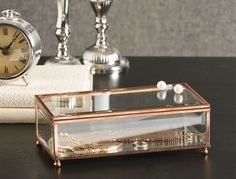 COPPER GLASSTRINKET BOX RECTANGLE  Morgan & Finch Bed Bath N' Table