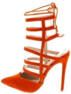 """""""GINGER"""" orange lace up closed toe pump Orange Pumps, Spice Things Up, Diva, Footwear, Lace Up, Toe, Sandals, How To Wear, Shopping"""