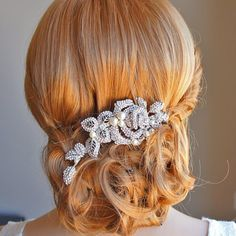 ALCIRA Bridal Hair Comb White or Ivory Pearl by GlamorousBijoux, $86.00