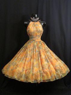 Vintage 1950's 50s Saks 5th Avenue Halter Peach by VintageVortex